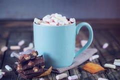 La taza llenó del chocolate caliente y de la melcocha, con el chocolate, t Fotografía de archivo