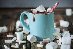 La taza llenó del chocolate caliente y melcocha y caramelo Imágenes de archivo libres de regalías