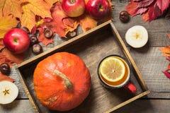 La taza que se calienta de té con una decoración de calabazas, las manzanas y las hojas de otoño en un vintage de madera suben Imagenes de archivo