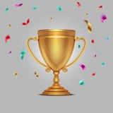 La taza realista del oro del campeonato con confeti que cae junta las piezas del ejemplo del vector ilustración del vector