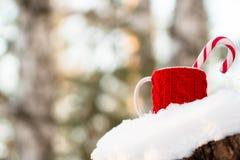 La taza roja con el caramelo está en la nieve Imagenes de archivo