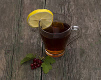 La taza transparente de té con un limón adornado con la pasa Imagen de archivo