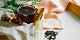 La taza transparente de té preparó con las cucharas de madera adyacentes Cinamomo entero Tiempo del té Hojas del té, endecha plan fotografía de archivo