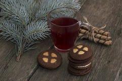 La taza transparente de té rojo adornada con una rama del abeto Imagen de archivo libre de regalías