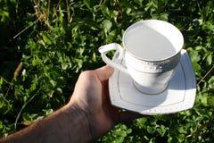 La taza y el platillo en su mano Foto de archivo libre de regalías