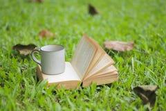 La taza y los libros de café en la hierba verde en verano parquean fotografía de archivo