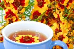 La tazza blu di tè con i fiori Immagine Stock Libera da Diritti