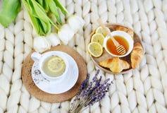 La tazza con il tè della lavanda, l'agrume ed il miele, croissant, gigante pastello bianco tricotta la coperta immagine stock