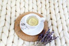 La tazza con il tè della lavanda, l'agrume ed il miele, croissant, gigante pastello bianco tricotta la coperta immagini stock
