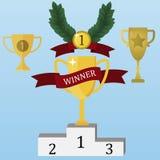 LA TAZZA del VINCITORE sostiene il trofeo di sport royalty illustrazione gratis