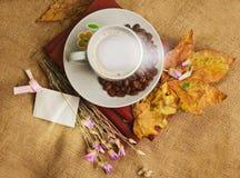 La tazza di caffè che si trova sui libri con le foglie di acero Immagini Stock