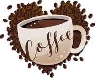 La tazza di caffè su caffè Bean Heart con ha ricoperto il testo dello scritto Immagine Stock Libera da Diritti