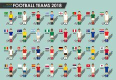 La tazza di calcio teams 2018 Insieme dei giocatori di football americano con l'uniforme e le bandiere nazionali del jersey Vetto illustrazione vettoriale