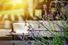 La tazza di tè è servito sulla tavola di legno naturale nello stile GA della Provenza fotografia stock
