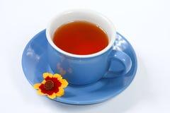 La tazza di tè con i fiori piacevoli Immagine Stock