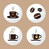 La tazza di tè e del caffè ha messo 2 Fotografia Stock Libera da Diritti