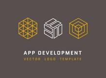 La technologie, développement, architecture, logos de vecteur de studio de jeu a placé dans la ligne style Photos libres de droits