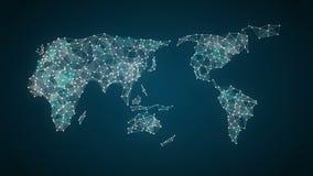 La technologie d'IoT relient la carte globale du monde les points fait la carte du monde, Internet des choses de gare illustration stock