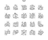 La technologie futée de ville Bien-a ouvré la ligne mince de vecteur parfait de pixel la grille 2x des icônes 30 pour des graphiq illustration libre de droits