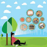 La tecnología de la realidad virtual, utiliza realidad virtual en la educación Imagen de archivo libre de regalías