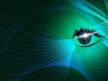 La tecnología del ojo representa mirada ardiente y el iris Imagenes de archivo