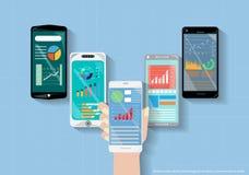 La tecnología elegante móvil del teléfono del vector es el negocio de la comunicación, negociando diseño plano Imagenes de archivo