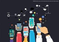 La tecnología elegante móvil del teléfono del vector es el negocio de la comunicación, negociando diseño plano Foto de archivo libre de regalías