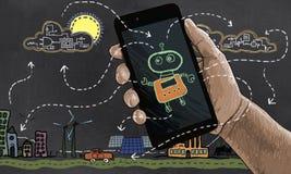La tecnología futura automatiza la energía renovable libre illustration