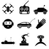 La tecnología moderna de alta tecnología juega la colección negra simple eps10 de los iconos Foto de archivo