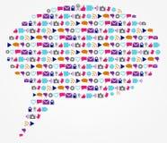La tecnología social y el discurso y el texto del establecimiento de una red burbujean Imágenes de archivo libres de regalías