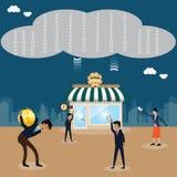 La tecnología de las nubes guarda datos grandes Imagen de archivo libre de regalías