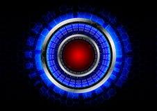La tecnologia astratta del cerchio con il bottone rosso ed il metallo suonano il backgr Immagine Stock Libera da Diritti