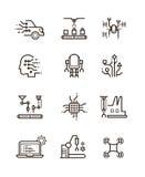 La tecnologia del robot ed il macchinario robot allineano le icone di vettore Simboli di intelligenza artificiale illustrazione di stock