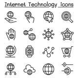 La tecnologia di Internet & l'icona della comunicazione dei dati hanno messo nella linea sottile s illustrazione vettoriale