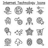 La tecnologia di Internet & l'icona della comunicazione dei dati hanno messo nella linea sottile s illustrazione di stock