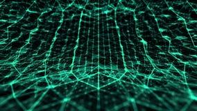 La tecnologia e la scienza astratte hanno curvato lo spazio con le linee verde di griglia illustrazione di stock