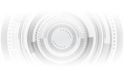 La tecnologia grigia astratta circonda sul fondo bianco di colore Fotografia Stock Libera da Diritti