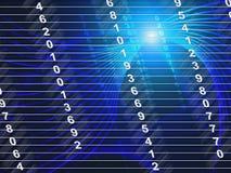 La tecnologia numera le cifre ed i numeri di conteggio di manifestazioni illustrazione vettoriale
