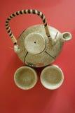 La teiera cinese con due tazze fotografie stock