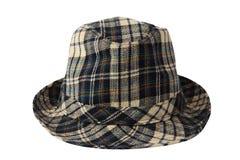La tela escocesa comprobada Fedora Hat aisló Imagen de archivo libre de regalías