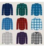 La tela escocesa modeló las camisas para el sistema del vector de los hombres stock de ilustración