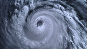 La tempête d'ouragan avec la foudre au-dessus de l'océan , vue satellite banque de vidéos