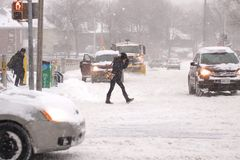La tempête de l'hiver heurte Toronto image stock