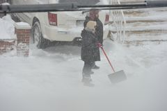 La tempête de la neige Juno Photos stock