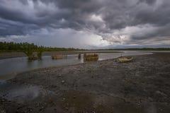 La tempesta ha venuta a Kelantan Villagge, Malesia Fotografia Stock Libera da Diritti