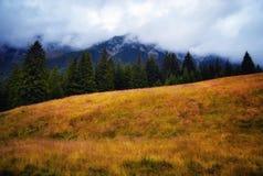 La tempesta si rannuvola le montagne di carpathians Fotografie Stock Libere da Diritti