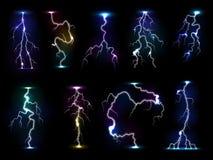 La tempestad de truenos de destello del vector del trueno del relámpago con la luz que destella y la electricidad arruinan la tor stock de ilustración