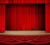 La tenda del teatro in scena con rosso mette l'illustrazione a sedere 3d Fotografia Stock