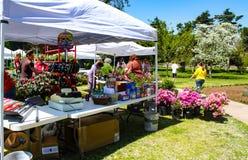 La tenda del venditore con i fiori da vendere ed i clienti al giardino della primavera mostrano al Garden Center di Tulsa - Tulsa fotografia stock libera da diritti