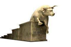 La tendenza del mercato di Bull ha lanciato in oro Fotografia Stock Libera da Diritti
